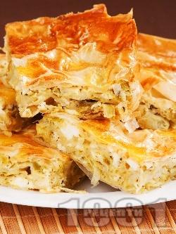 Мързелива баница от готови одрински кори с праз лук, яйца и сирене - снимка на рецептата